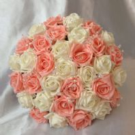 ARTIFICIAL FLOWERS IVORY PEACH FOAM ROSE BRIDE CRYSTAL WEDDING BOUQUET POSIE